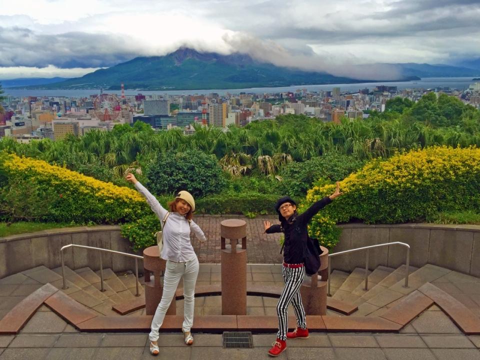 長島美術館からの眺め 台風前の鹿児島市内と桜島